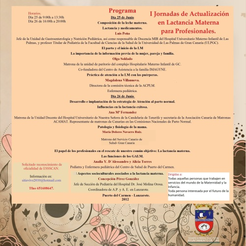 I Jornadas de actualización en Lactancia Materna para profesionales - Lanzarote 2012